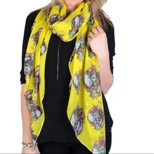 Accessories - Yellow Scarf 100% Polyester Flowers On Skulls